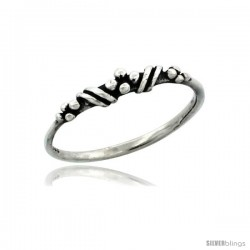 Sterling Silver Very Thin Beaded Ring, 1/8 in. (3 mm) wide