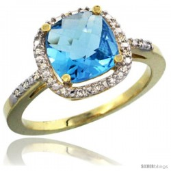 14k Yellow Gold Ladies Natural Swiss Blue Topaz Ring Cushion-cut 3.8 ct. 8x8 Stone Diamond Accent