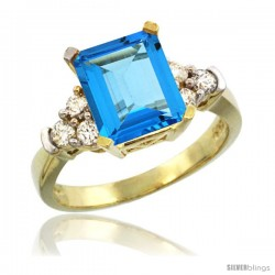 14k Yellow Gold Ladies Natural Swiss Blue Topaz Ring Emerald-shape 9x7 Stone Diamond Accent