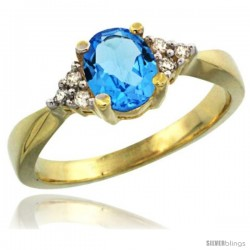 14k Yellow Gold Ladies Natural Swiss Blue Topaz Ring oval 7x5 Stone Diamond Accent -Style Cy404168