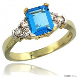 14k Yellow Gold Ladies Natural Swiss Blue Topaz Ring Emerald-shape 7x5 Stone Diamond Accent