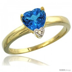 14K Yellow Gold Natural Swiss Blue Topaz Heart-shape 7x7 Stone Diamond Accent