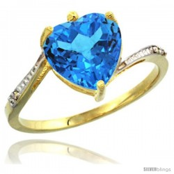 14k Yellow Gold Ladies Natural Swiss Blue Topaz Ring Heart-shape 9x9 Stone Diamond Accent