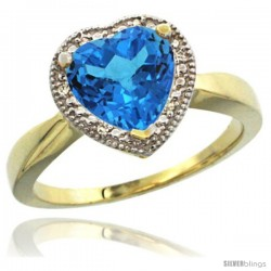 14k Yellow Gold Ladies Natural Swiss Blue Topaz Ring Heart-shape 8x8 Stone Diamond Accent