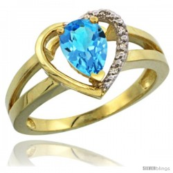 14k Yellow Gold Ladies Natural Swiss Blue Topaz Ring Heart-shape 5 mm Stone Diamond Accent