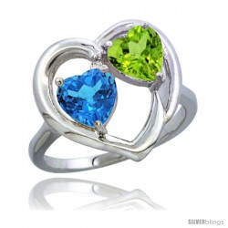 14k White Gold 2-Stone Heart Ring 6mm Natural Swiss Blue & Peridot Diamond Accent