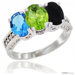 14K White Gold Natural Swiss Blue Topaz, Peridot & Black Onyx Ring 3-Stone 7x5 mm Oval Diamond Accent