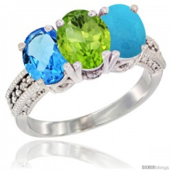 14K White Gold Natural Swiss Blue Topaz, Peridot & Turquoise Ring 3-Stone 7x5 mm Oval Diamond Accent