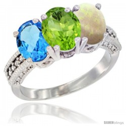 14K White Gold Natural Swiss Blue Topaz, Peridot & Opal Ring 3-Stone 7x5 mm Oval Diamond Accent