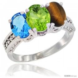 14K White Gold Natural Swiss Blue Topaz, Peridot & Tiger Eye Ring 3-Stone 7x5 mm Oval Diamond Accent