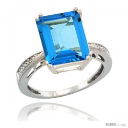 Sterling Silver Diamond Natural Swiss Blue Topaz Ring 5.83 ct Emerald Shape 12x10 Stone 1/2 in wide -Style Cwg04149