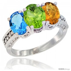 14K White Gold Natural Swiss Blue Topaz, Peridot & Whisky Quartz Ring 3-Stone 7x5 mm Oval Diamond Accent