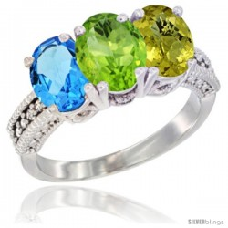 14K White Gold Natural Swiss Blue Topaz, Peridot & Lemon Quartz Ring 3-Stone 7x5 mm Oval Diamond Accent
