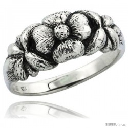 Sterling Silver Plumeria Flower Ring, 5/16 in. (8.5 mm) wide