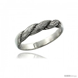 Sterling Silver Braided Ring, 1/8 in. (3.5 mm) wide
