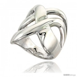 Sterling Silver Crisscross Ring Flawless finish 1 in wide