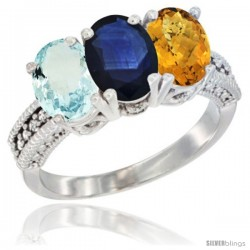 14K White Gold Natural Aquamarine, Blue Sapphire & Whisky Quartz Ring 3-Stone Oval 7x5 mm Diamond Accent