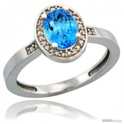 Sterling Silver Diamond Natural Swiss Blue Topaz Ring 1 ct 7x5 Stone 1/2 in wide