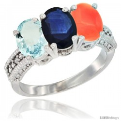 14K White Gold Natural Aquamarine, Blue Sapphire & Coral Ring 3-Stone Oval 7x5 mm Diamond Accent
