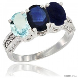 14K White Gold Natural Aquamarine, Blue Sapphire & Lapis Ring 3-Stone Oval 7x5 mm Diamond Accent