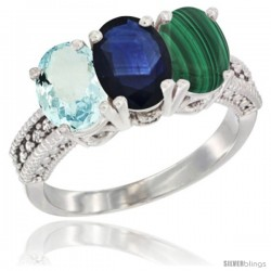14K White Gold Natural Aquamarine, Blue Sapphire & Malachite Ring 3-Stone Oval 7x5 mm Diamond Accent