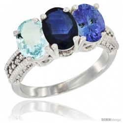 14K White Gold Natural Aquamarine, Blue Sapphire & Tanzanite Ring 3-Stone Oval 7x5 mm Diamond Accent
