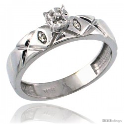 10k White Gold Diamond Engagement Ring w/ 0.03 Carat Brilliant Cut Diamonds, 5/32 in. (4.5mm) wide -Style 10w154er
