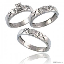 10k White Gold 3-Pc. Trio His (5mm) & Hers (4.5mm) Diamond Wedding Ring Band Set, w/ 0.056 Carat Brilliant Cut Diamonds