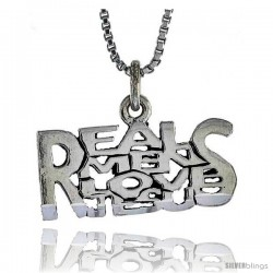 Sterling Silver REAL MEN LOVE JESUS Word Necklace, w/ 18 in Box Chain