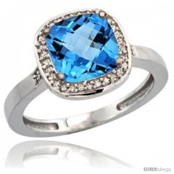 Sterling Silver Diamond Natural Swiss Blue Topaz Ring 2.08 ct Checkerboard Cushion 8mm Stone 1/2.08 in wide