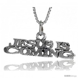 Sterling Silver JESUS IS COMING Word Necklace, w/ 18 in Box Chain