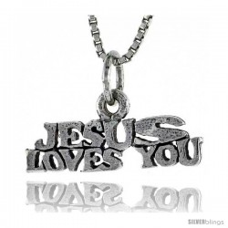 Sterling Silver JESUS FOUND YOU Word Necklace, w/ 18 in Box Chain