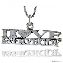 Sterling Silver I LOVE EVERYBODY Word Necklace, w/ 18 in Box Chain
