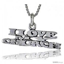 Sterling Silver I LOVE MY CHURCH Word Necklace, w/ 18 in Box Chain