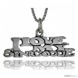 Sterling Silver I LOVE MY SYNAGOGUE Word Necklace, w/ 18 in Box Chain