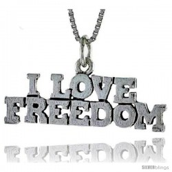 Sterling Silver I LOVE FREEDOM Word Necklace, w/ 18 in Box Chain