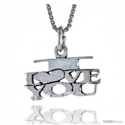 Sterling Silver I LOVE YOU Word Necklace, w/ 18 in Box Chain