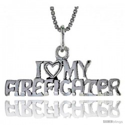 Sterling Silver I LOVE MY FIREFIGHTER Word Necklace, w/ 18 in Box Chain