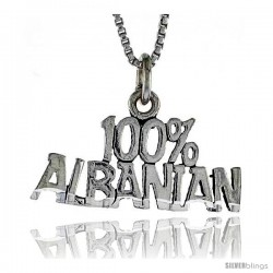 Sterling Silver 100 Percent ALBANIAN Word Necklace, w/ 18 in Box Chain