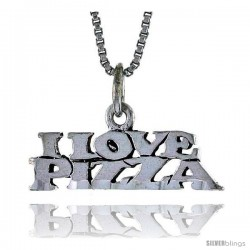 Sterling Silver I LOVE PIZZA Word Necklace, w/ 18 in Box Chain