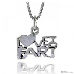 Sterling Silver LOVE TO FART Word Necklace, w/ 18 in Box Chain