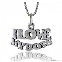 Sterling Silver I LOVE MY BOSS Word Necklace, w/ 18 in Box Chain