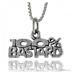 Sterling Silver 100 Percent BASTARD Word Necklace, w/ 18 in Box Chain