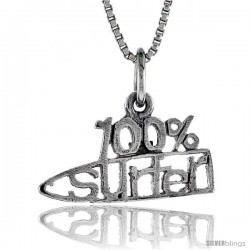 Sterling Silver 100 Percent SURFER Word Necklace, w/ 18 in Box Chain