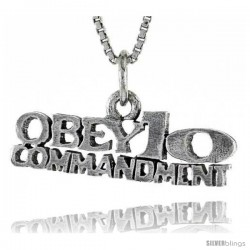 Sterling Silver OBEY 10 COMMANDMENTS Word Necklace, w/ 18 in Box Chain