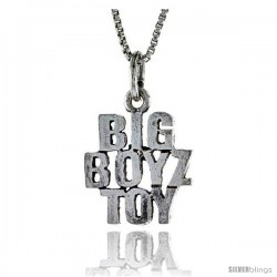Sterling Silver BIG BOYZ TOY Word Necklace, w/ 18 in Box Chain