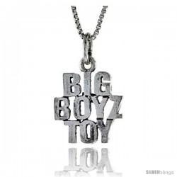 Sterling Silver BIG BOYZ TOY Word Necklace, w/ 18 in Box Chain