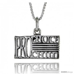 Sterling Silver PRO-CHOICE, PRO-CHILD Word Necklace, w/ 18 in Box Chain