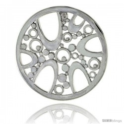 "Sterling Silver Round Pendant, w/ Bubbles, 1 1/8"" (28 mm)"