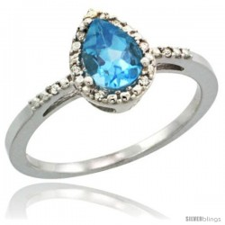 Sterling Silver Diamond Natural Swiss Blue Topaz Ring 0.59 ct Tear Drop 7x5 Stone 3/8 in wide